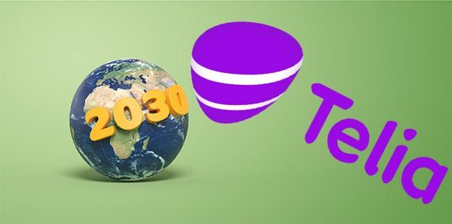 jordglob med texten 2030 och telias logotyp mot grön bakgrund