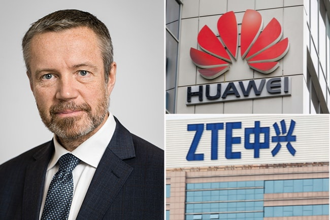 Post- och Telestyrelsens generaldirektör Dan Sjöblom, och logotyperna för Huawei och ZTE