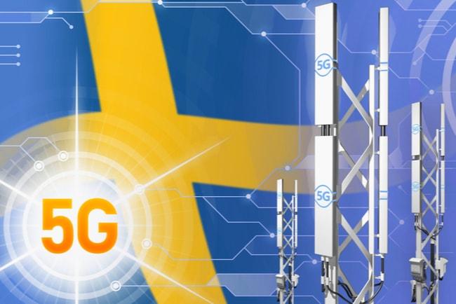 svensk flagga i bakgrunden och texten 5g och 5g-paraboler i förgrunden