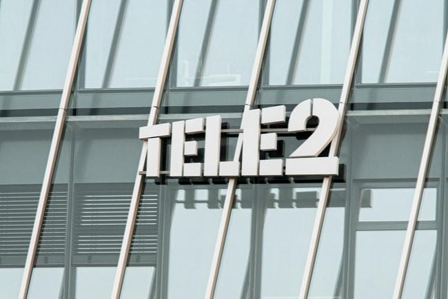 Tele2:s logga på deras kontorsfasad