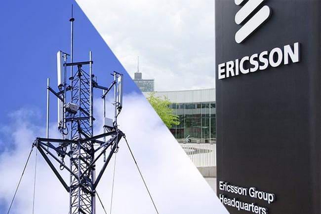 En bild på Ericssons logga och 5G-mast