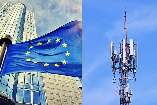 Kollage med EU-flagga och 5G-mast