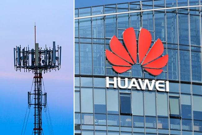 Kollage med Huawei-logga och mobilmast