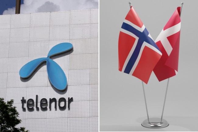 telenors logotyp på fasad och norsk och dansk flagga
